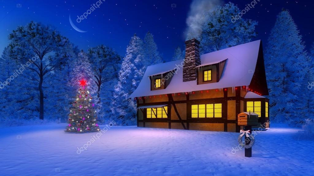 Verlichte kerstboom en rustiek huis maanlicht \'s nachts — Stockfoto ...