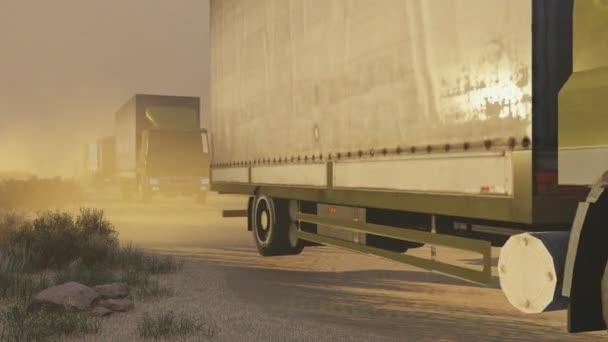 Vojenská kolona na Pouštní silnici při západu slunce