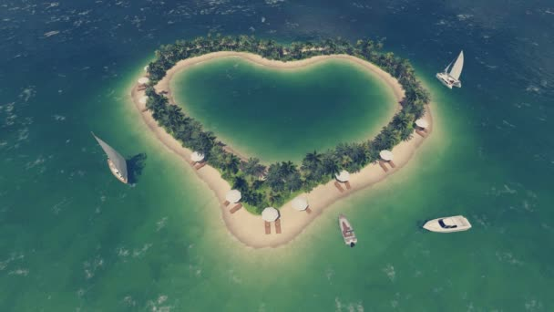 Romantikus szív alakú trópusi sziget Top view