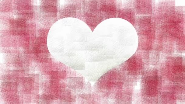Bílé srdce na červené stylové animace