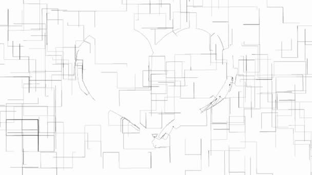 Obrys srdce symbolem černobílá animace