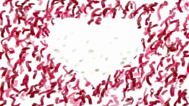 Ruční malba srdce symbolu animace