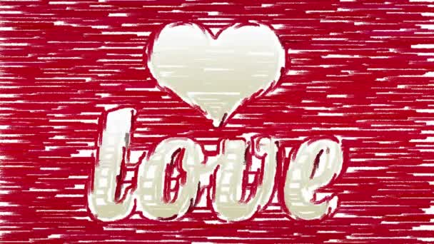 Paint brush strokes forms heart and Love