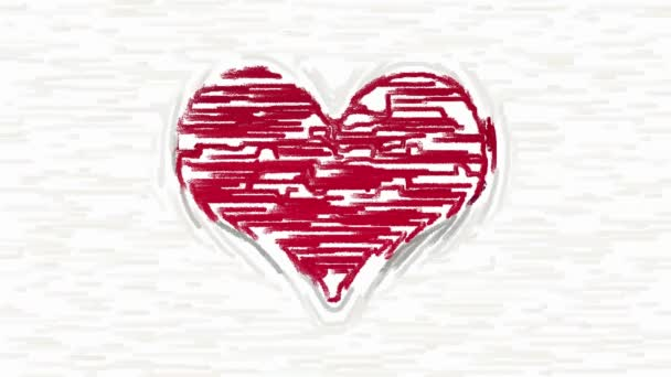 Paint brush strokes forms red heart symbol