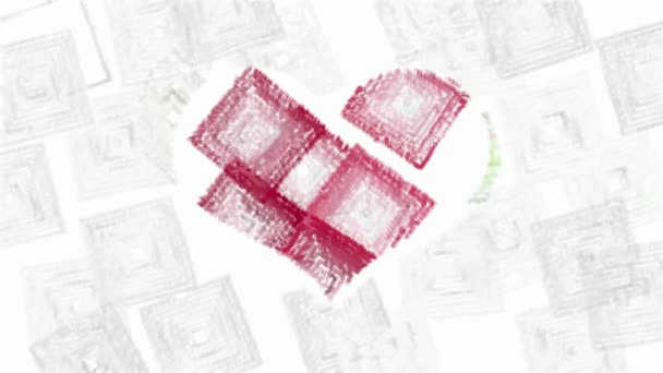 Abstract animated squares forms red heart symbol