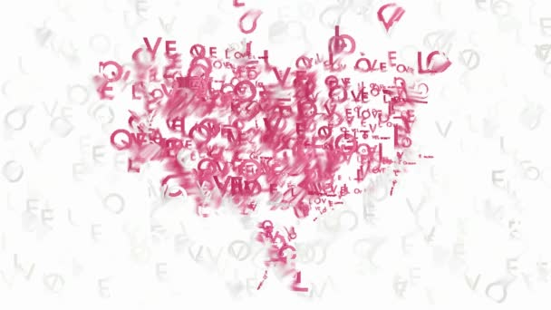 Heart symbol made by animated words Love