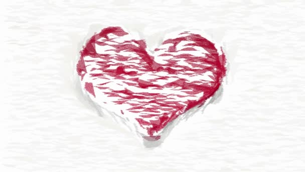 Abstract red heart on white background animated collage