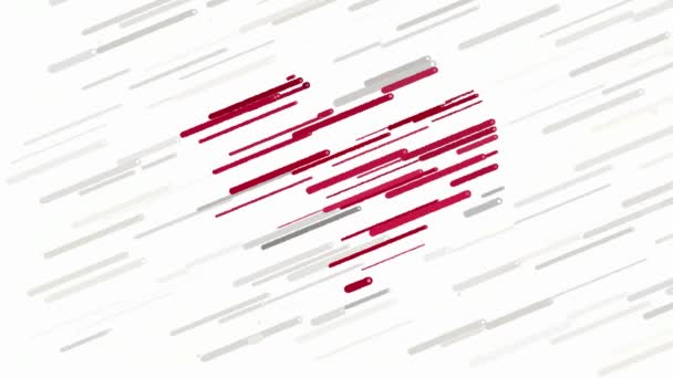 Red heart on white background abstract animation