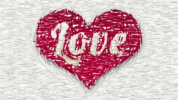 Word Love in red heart abstract collage