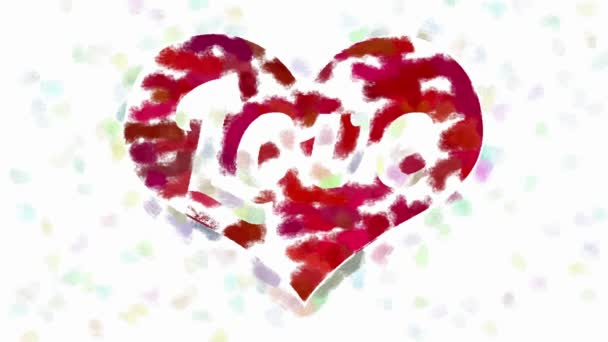 Word Love in heart symbol abstract painting