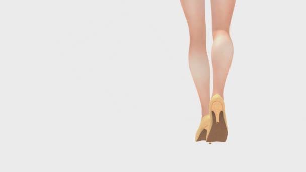 Žena nohou na vysokých podpatcích na bílém pozadí zadní Prohlédni