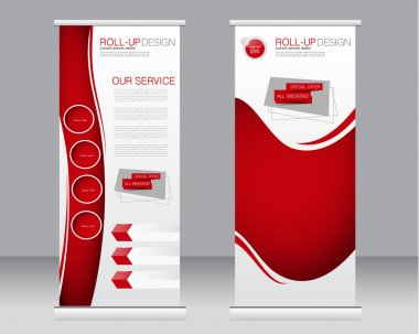 Roll up banner stand template. Abstract background for design,  business, education, advertisement.  Red color. Vector  illustration. stock vector
