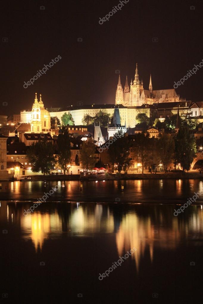 Night Prague Gothic Castle Above River Vltava Czech Republic Stock Photo