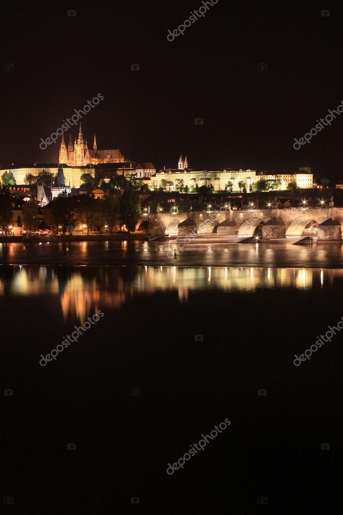 Night Prague Gothic Castle With Charles Bridge Czech Republic Stock Photo