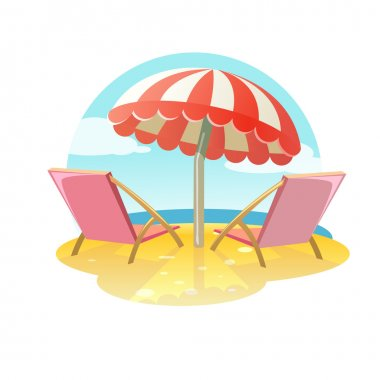 Two loungers and umbrella, relaxing scene on a breezy day at the tropical beach, two deck