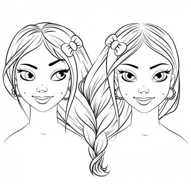 Abstract fashion girl woman vector. Black and white line art cartoon isolated on white. Sisters twins together. Gemini zodiac sign