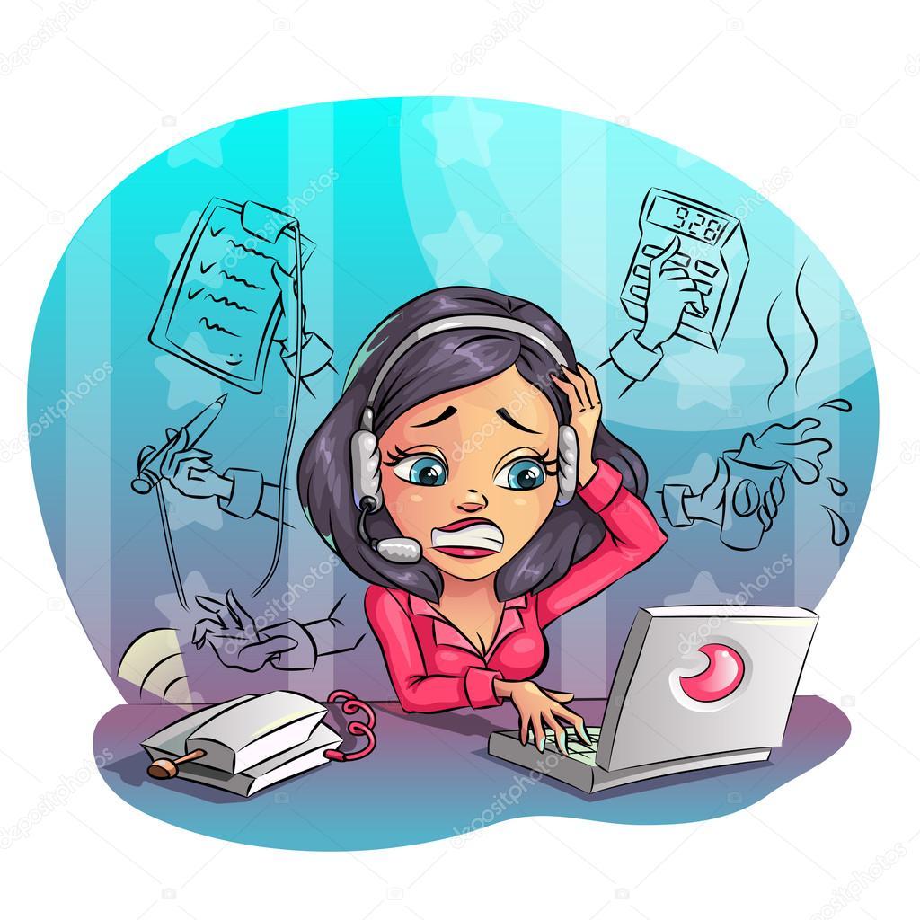 Entreprise de dessin anim femme travailler dur au bureau beaucoup de t ches - Travailler dans un bureau ...