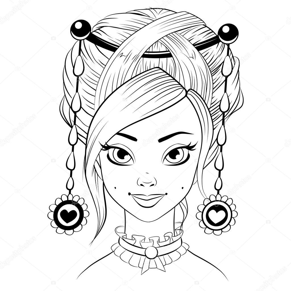 Abstract fashion girl woman vector. Black and white line art cartoon isolated on white. Libra concept zodiac sign