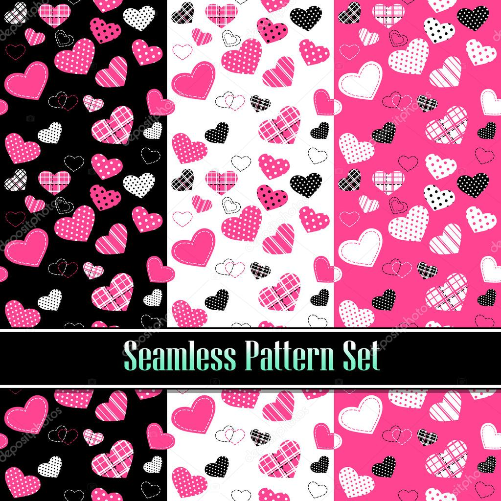 Cute valentine's seamless tile pattern swatches with hearts. Vector set