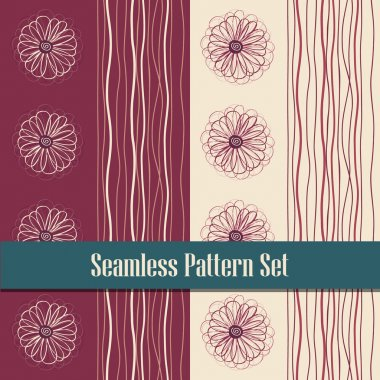 2 abstract flower stripes pattern seamless tile set, complementary textures can use bedclothes, wallpaper, wrapping. Vector line background clip art