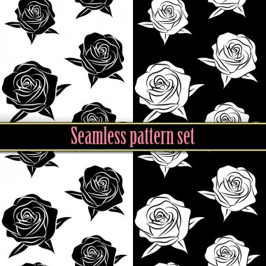 Beautiful flower black and white rose seamless tile pattern for wallpaper or background, vector clip art illustration