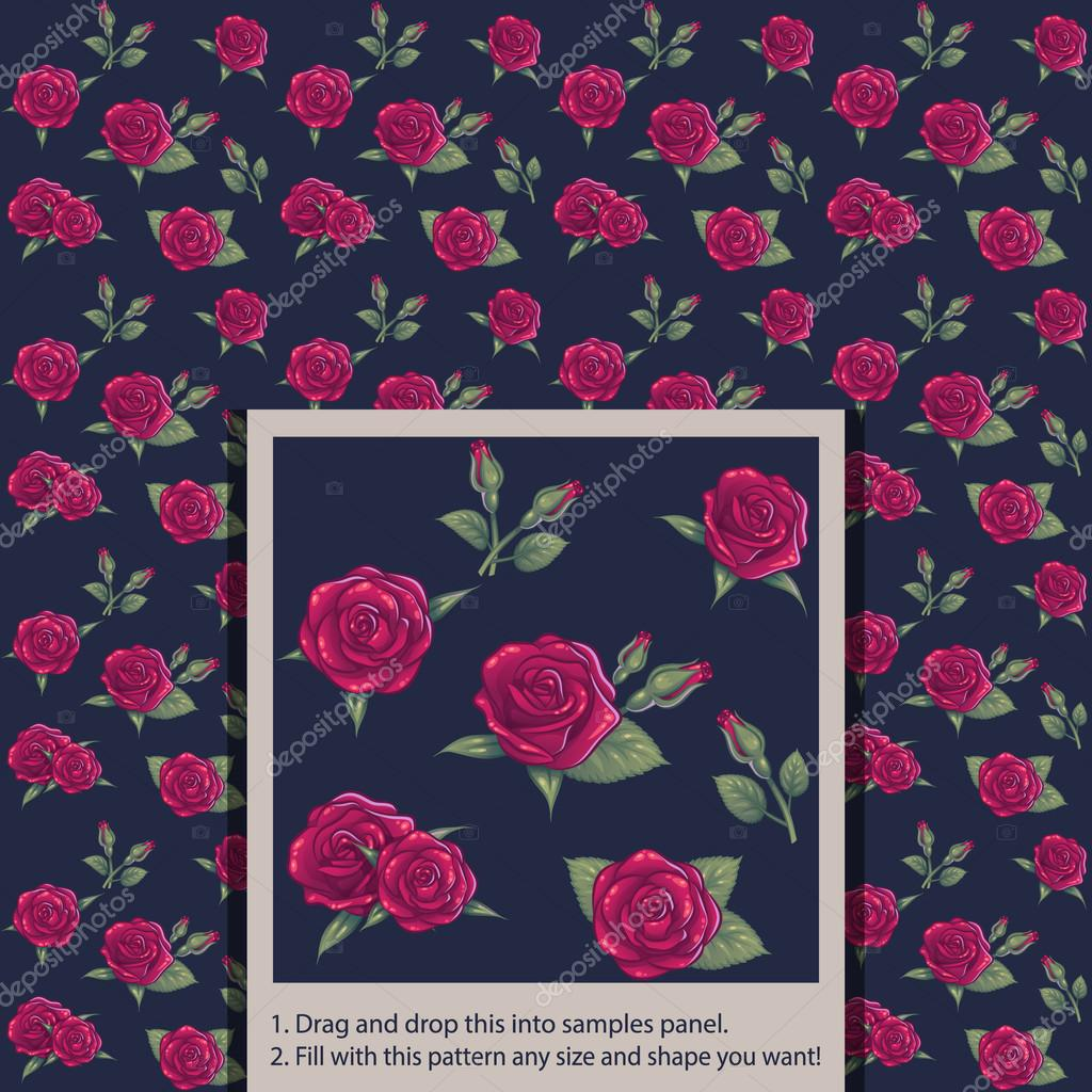 Beautiful Flower Red Rose Seamless Tile Pattern For Wallpaper Or Background Vector Clip Art Illustration