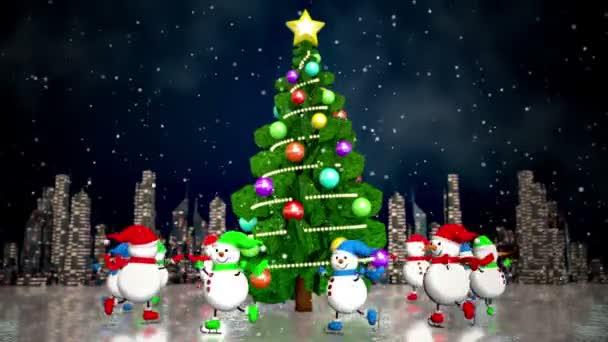Sněhuláci bruslení kolem vánočního stromu