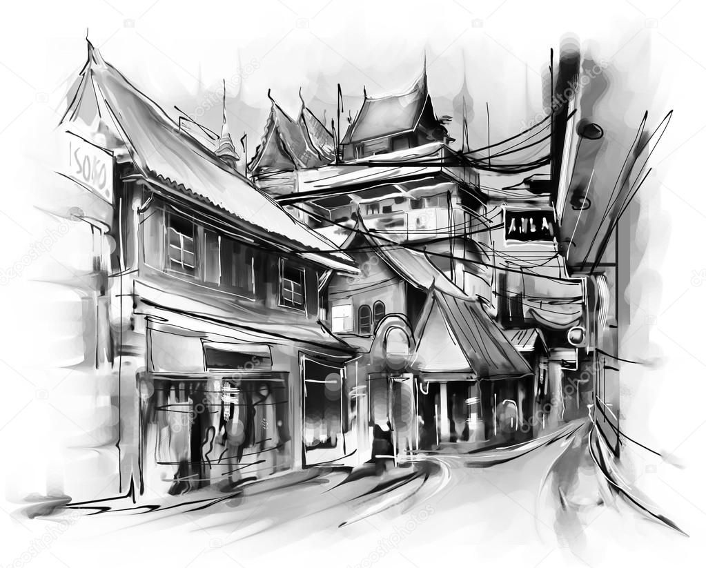 Illustration of city street