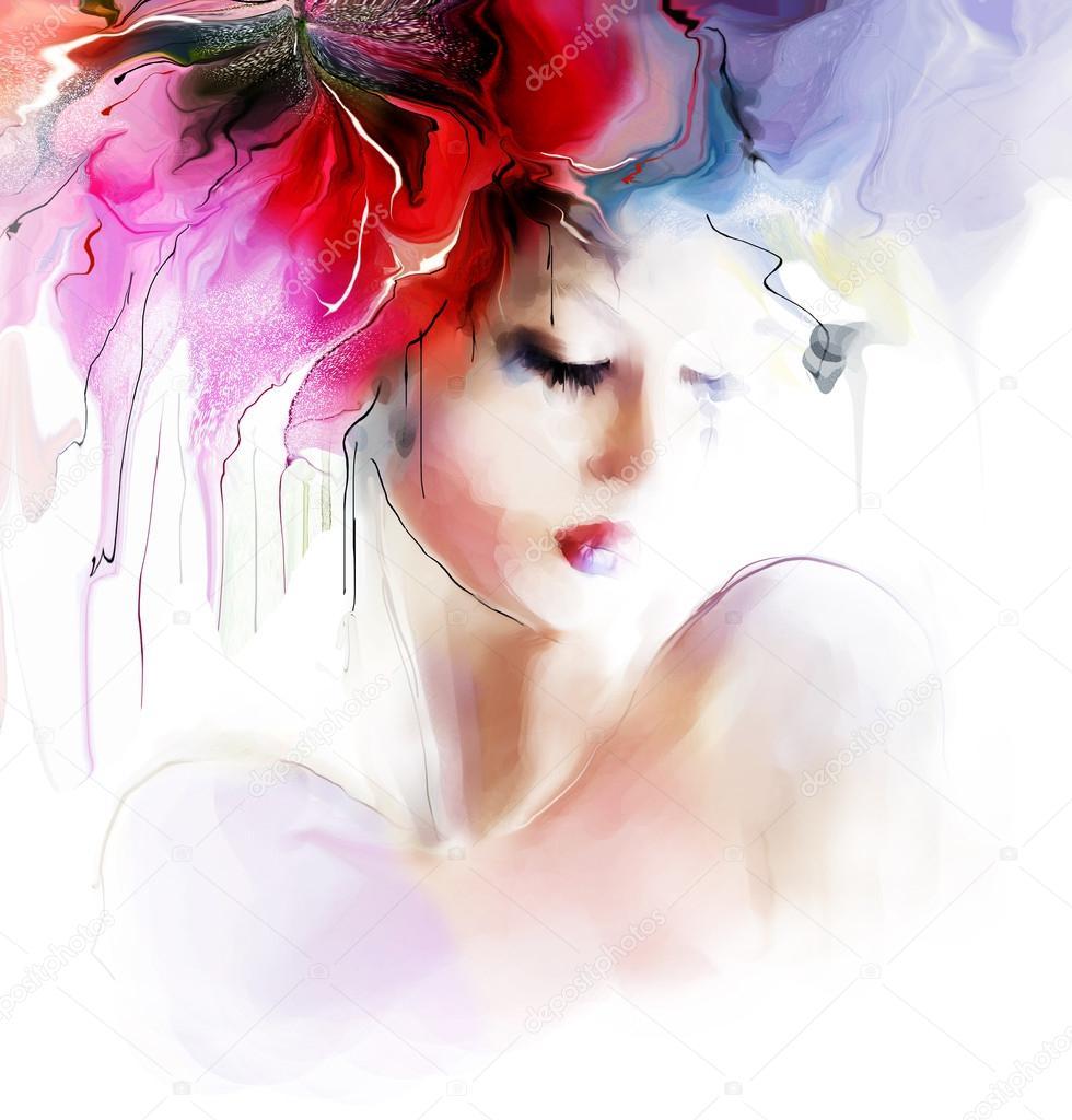 Beautiful fashion woman  illustration.