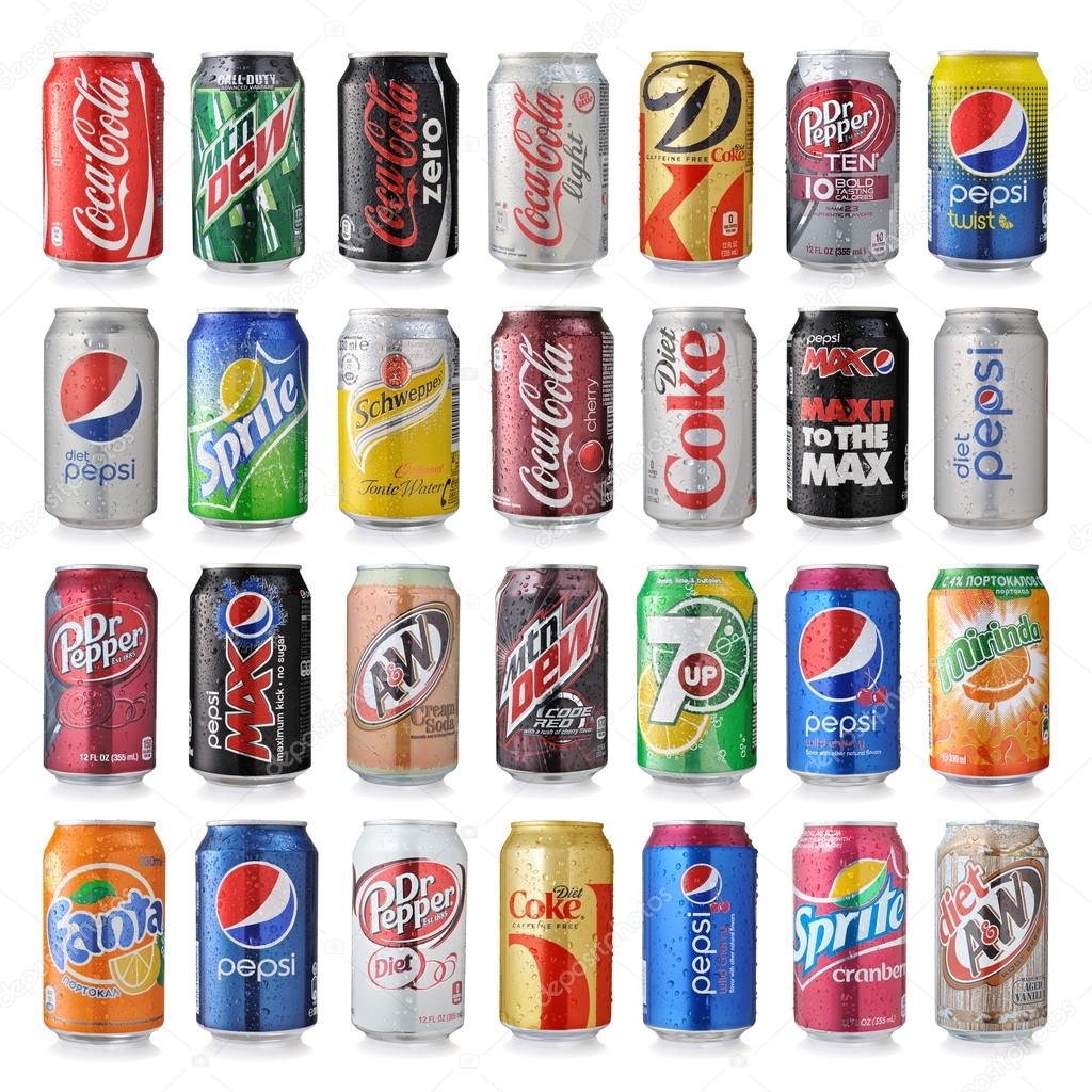 Set Of Various Brands Of Soda Drinks