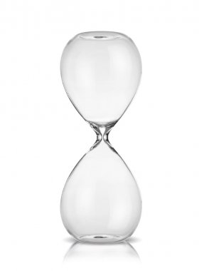 Empty hourglass isolated on white background