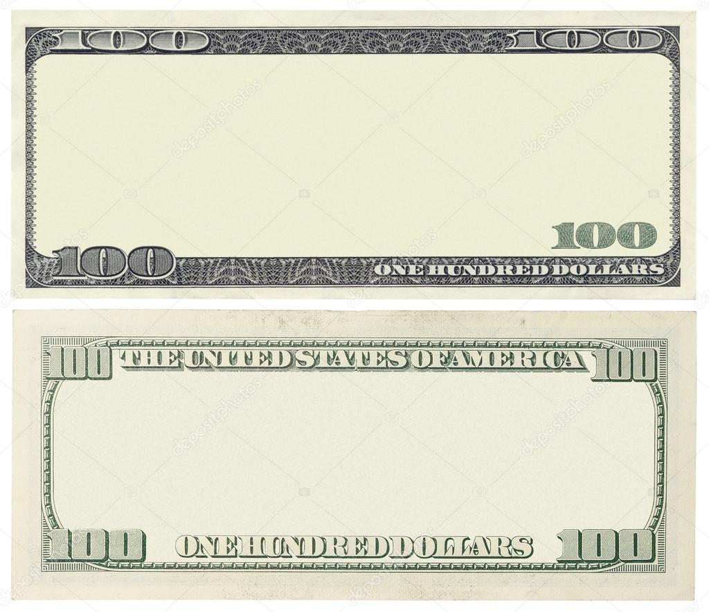 blank 100 dollar banknote isolated on white � stock photo