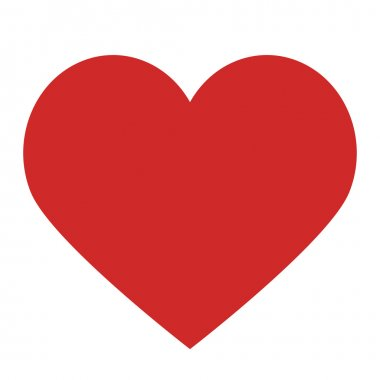 Heart isolated on white and clipping pach, flat design style lov
