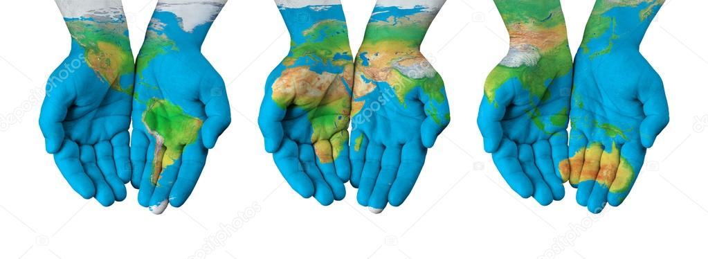 World map painted on hands isolated stock photo chones 96484610 world map painted on hands isolated stock photo gumiabroncs Image collections