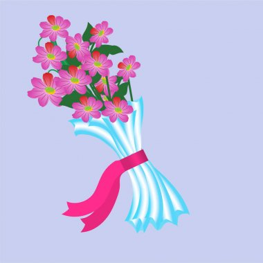 Vector illustration of pink flowers bouquet packed in a cellophane wrap. icon