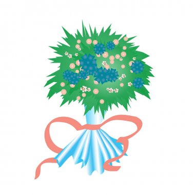Bouquet of wildflowers packed with cellophane foil and a red ribbon. Vector illustration. icon