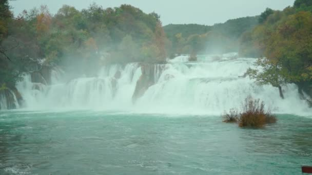 View of popular terrific landmark in Croatia. Waterfall in cloudy weather. Autumn, October, nature background, great view, fresh air, Europe, chill, water, nature, green, landscape, travel, rock