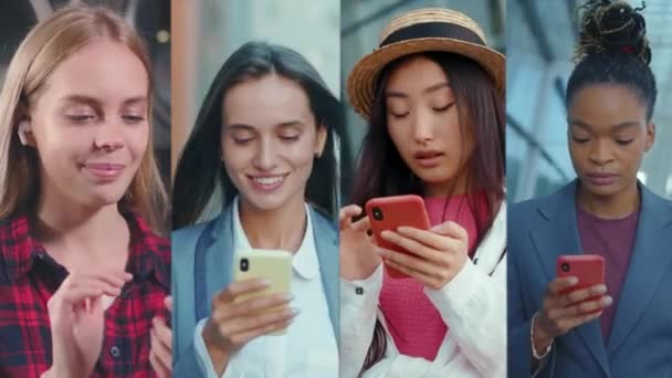 Zblízka lidé muži a ženy pomocí mobilního telefonu chůze na ulici. Usmívá se. Kolážové spojení online. Telefon. Portrét. Zpomalený pohyb