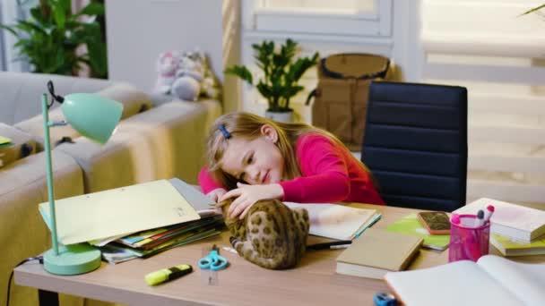 Gyereklány tanul írni, házi feladatot csinál otthon ülve. Macska mászkál, játszik a lánnyal. Az óvodás gyerek egyedül tanul az általános iskolában. Lassú mozgás.
