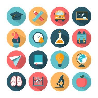 Set of modern school icons