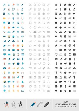 Set of 300 education icons made in color