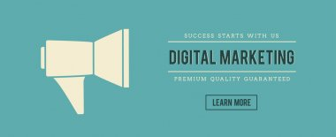 Vintage banner of digital marketing