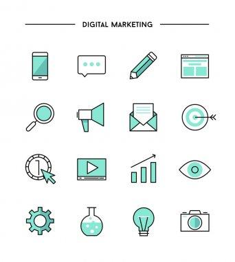 set of digital marketing icons