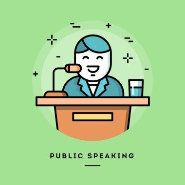 Public speaking, flat design line banner