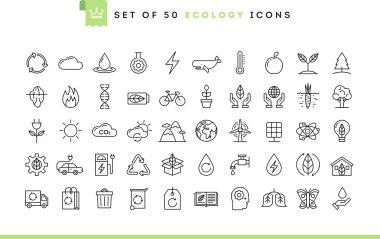 Set of 50 ecology icons