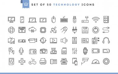 Set of 50 technology icons