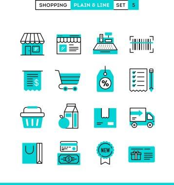Shopping, plain and line icons set, flat design