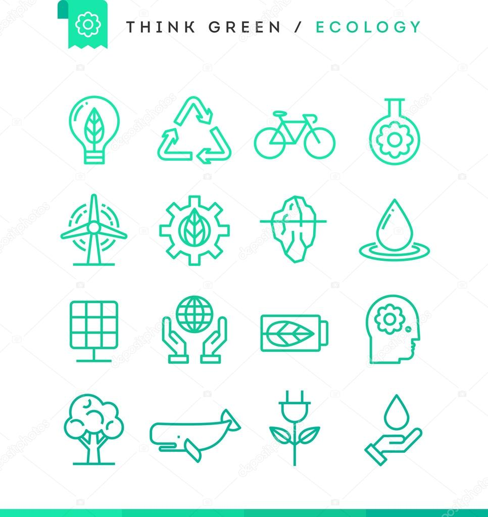 Think green! Set of ecology icons