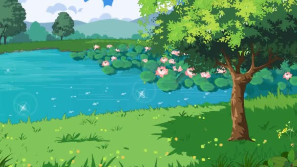 Krásný park s rybníkem, lotosové květiny a mraky animace. klip v rozlišení 4k.