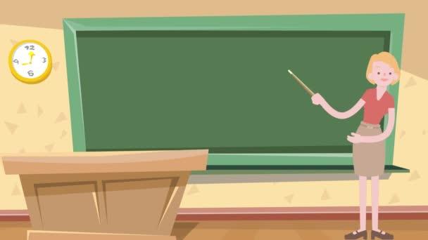 Animált rajzfilm design tanár tanítás közben az iskolában. 4k felbontású lövés.